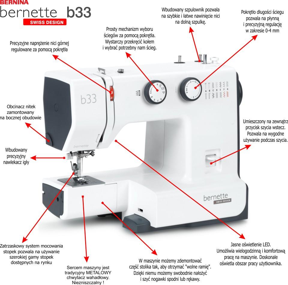 BERNINA bernette b33 - Maszyna do szycia dla początkujących