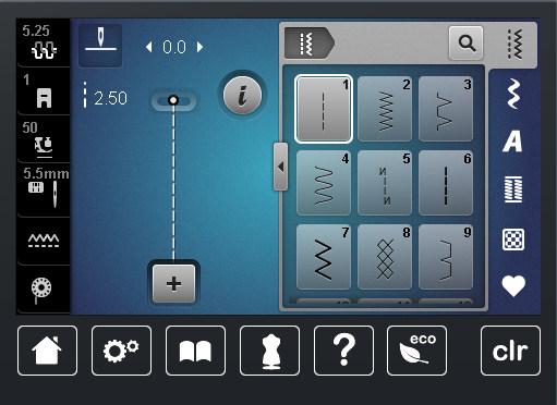 BERNINA 720 - Ekran w trybie szycia