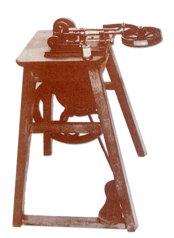 Maszyna do szycia Balthasar Krems - 1814 r - ścieg łańcuszkowy