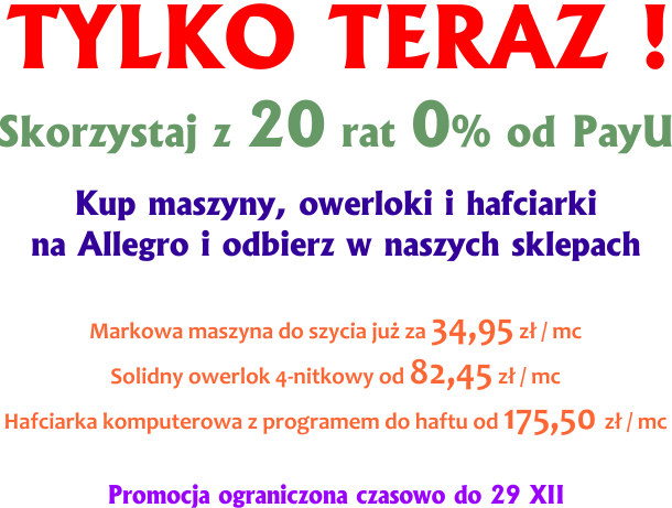 Raty 0% od PayU