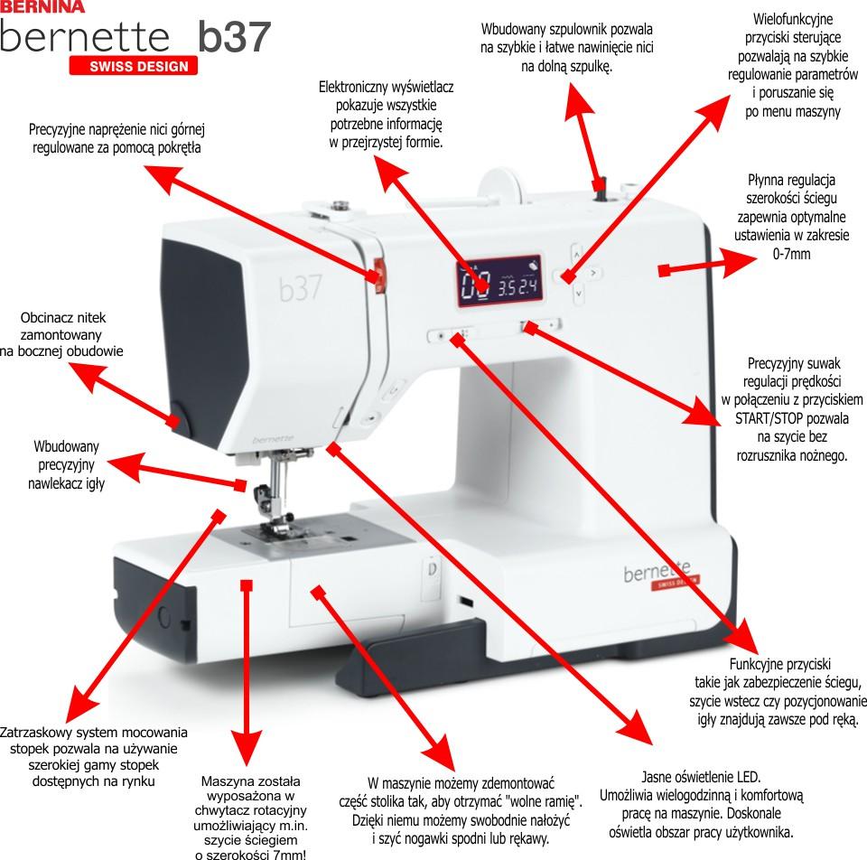 BERNINA bernette B37 - Komputerowa, elektoniczna maszyna do szycia Entry Level