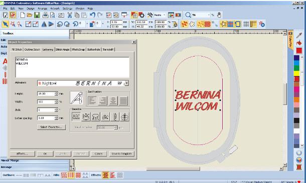 Berinina Wilcom Editor Plus - Tworzenie napisów