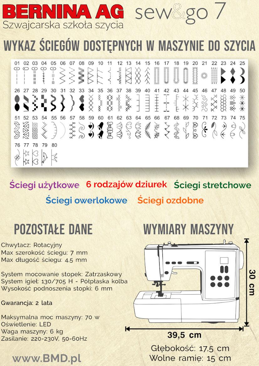 Maszyna do szycia BERNINA SewGo 7 - Dodatkowe informacje