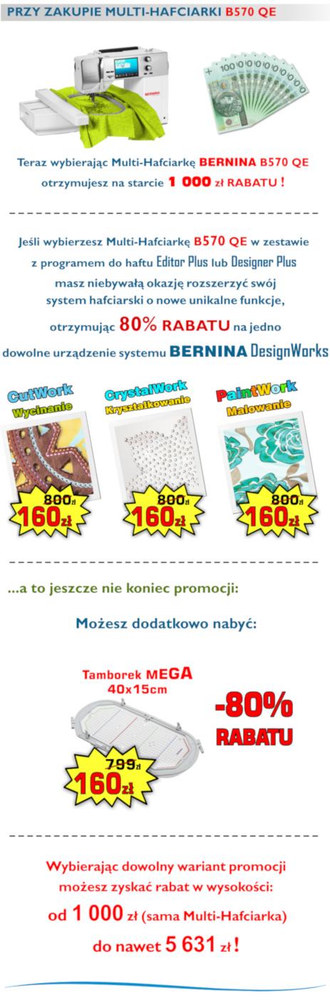 BERNINA B570 QE - Komputerowa hafciarka dla firm - SUPER PROMOCJA